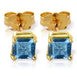 GOLD STUD EARRINGS WITH NATURAL BLUE TOPAZ